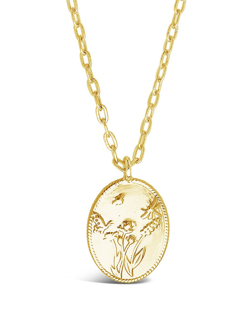 Engraved Garden Pendant Necklace Sterling Forever Gold