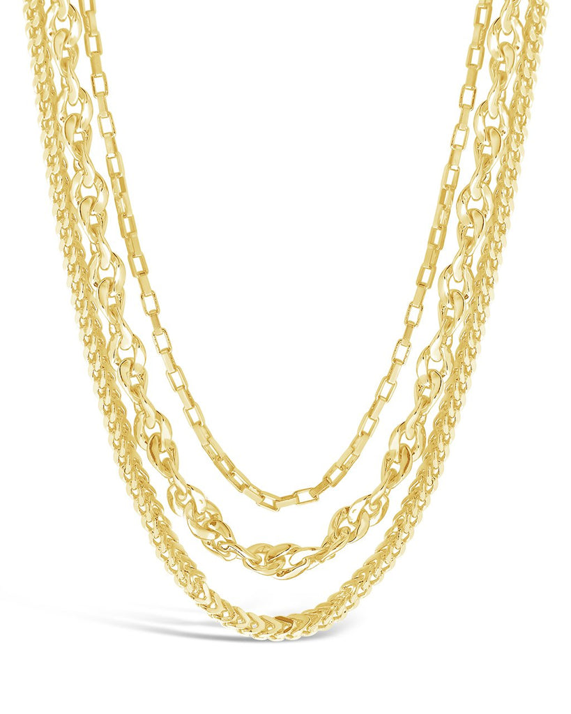 Three Layer Bold Chain Necklace Necklace Sterling Forever Gold