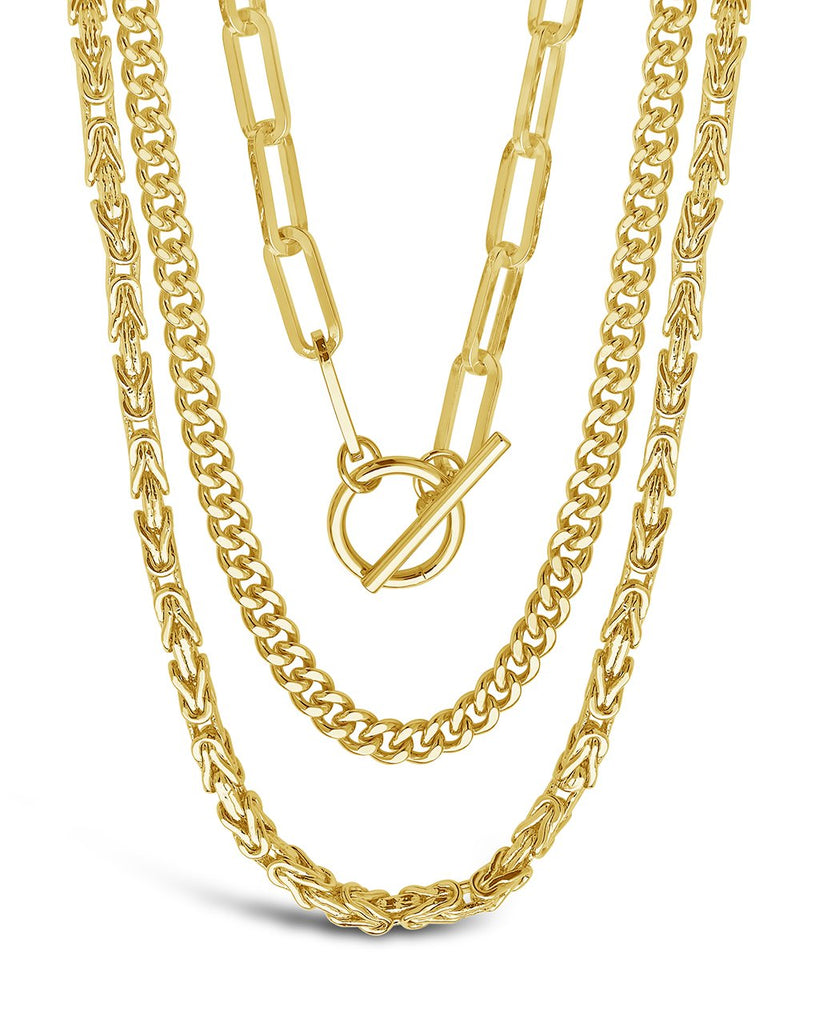 Triple Layer Toggle and Chain Necklace Necklace Sterling Forever Gold