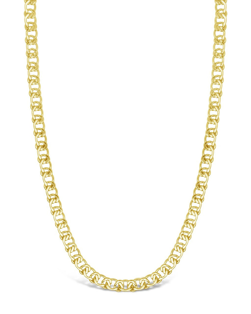 Interlocking Curb Chain Necklace Sterling Forever Gold