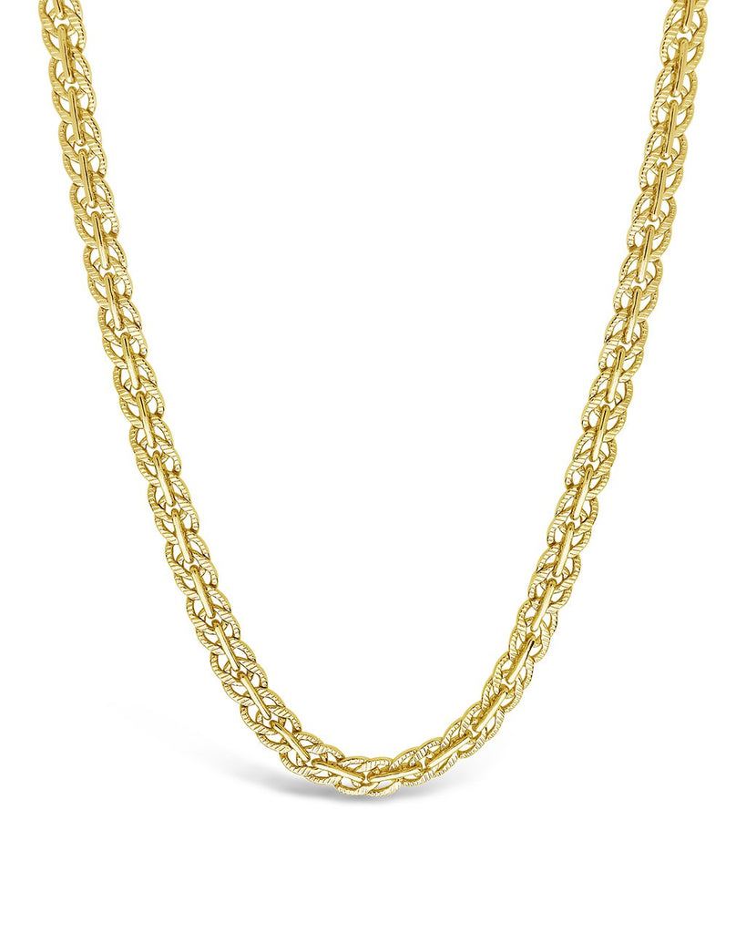 Hammered Interlocking Curb Chain Necklace Sterling Forever Gold