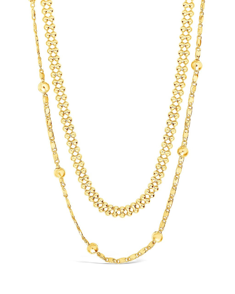 Layered Beaded Chain Necklace Necklace Sterling Forever Gold