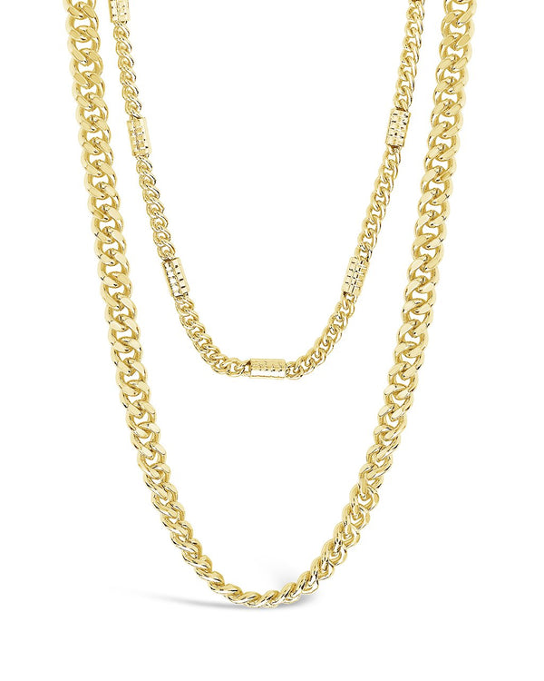 Curb & Station Layered Chain Necklace Necklace Sterling Forever Gold