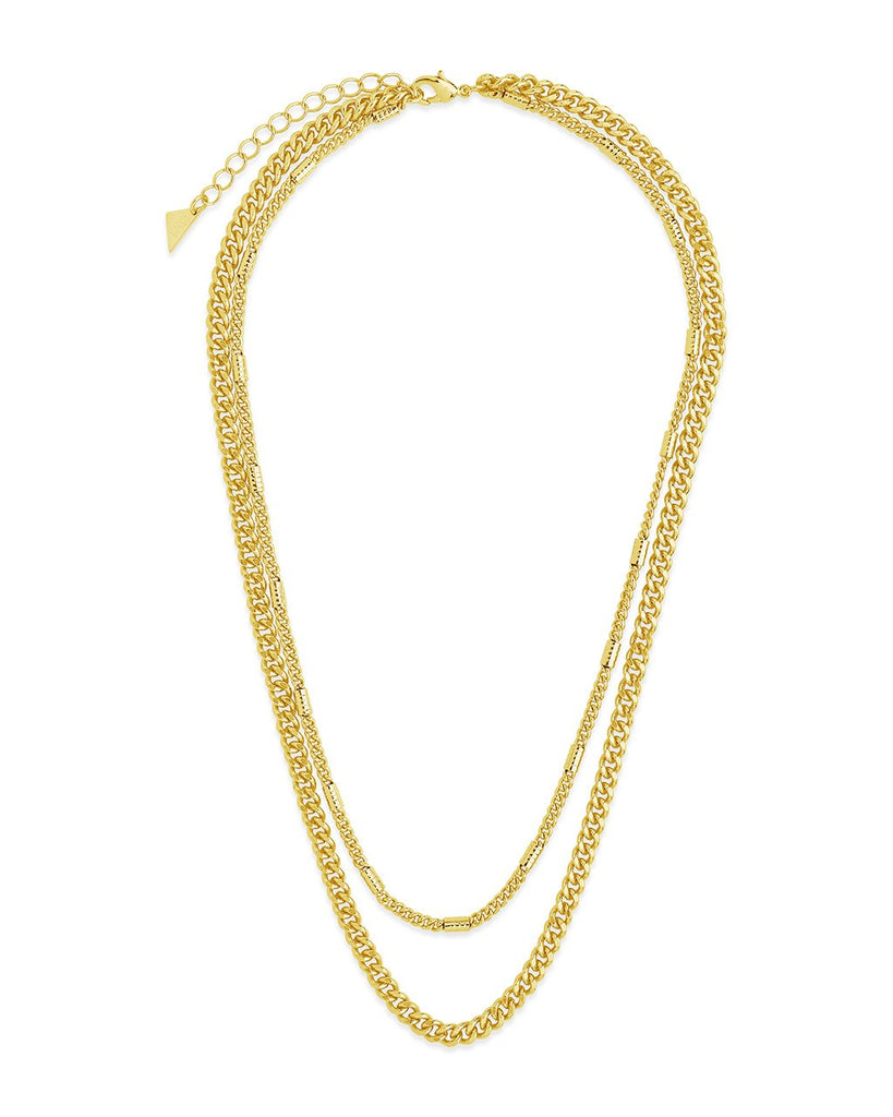 Curb & Station Layered Chain Necklace Necklace Sterling Forever