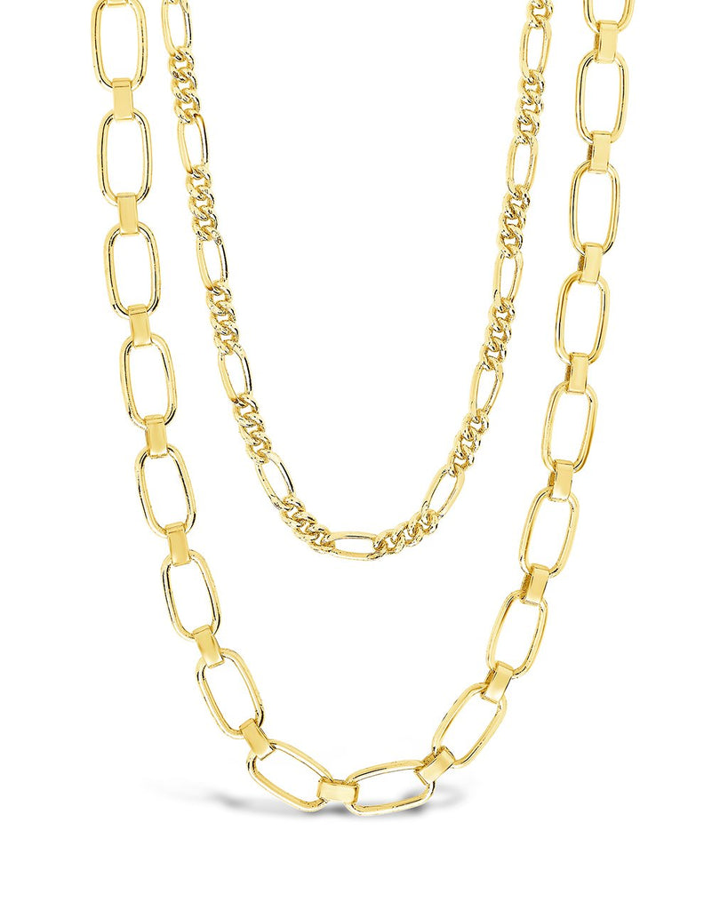 Figaro & Square Link Layered Chain Necklace Necklace Sterling Forever Gold