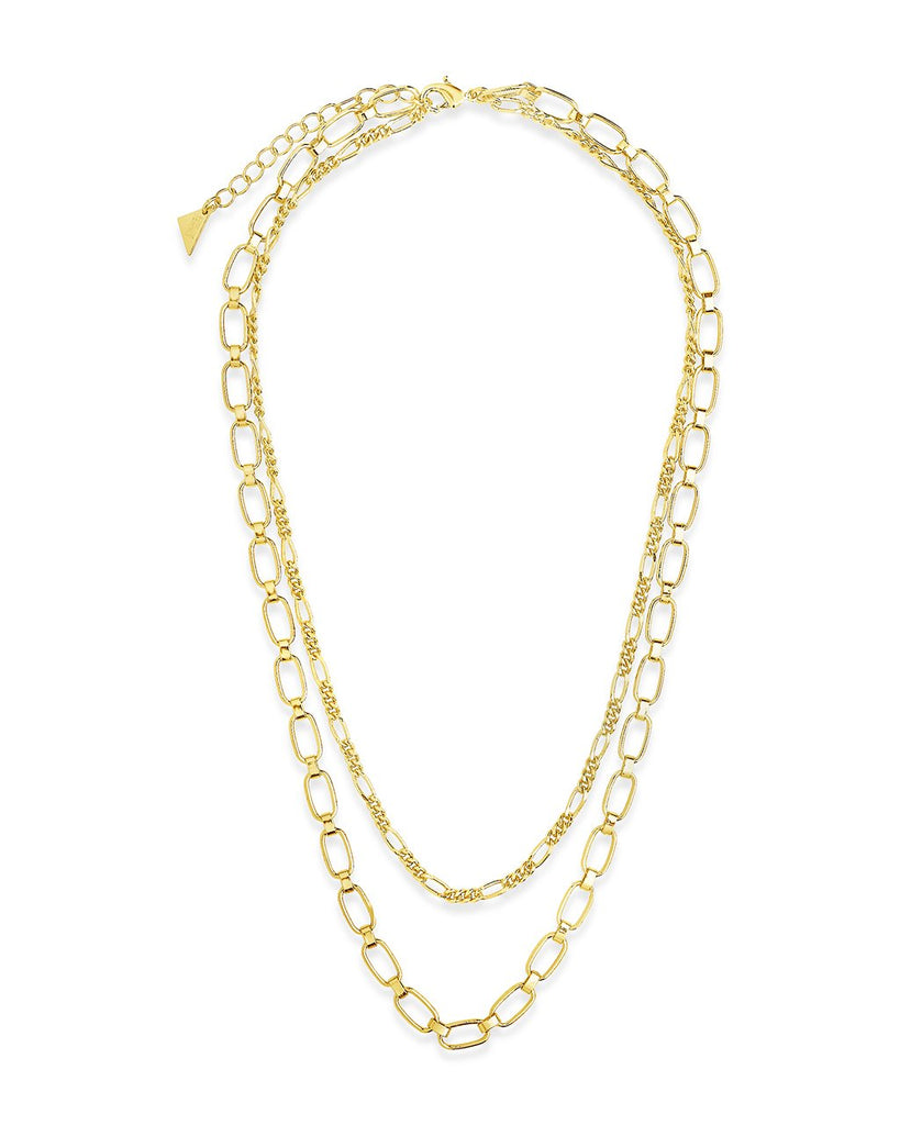 Figaro & Square Link Layered Chain Necklace Necklace Sterling Forever