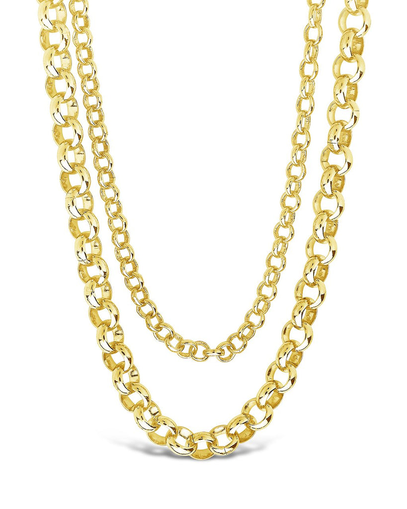 Bold Layered Rolo Chain Necklace Necklace Sterling Forever Gold