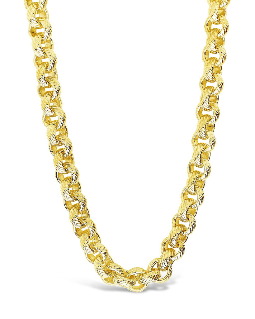 Textured Round Link Chain Necklace Sterling Forever Gold