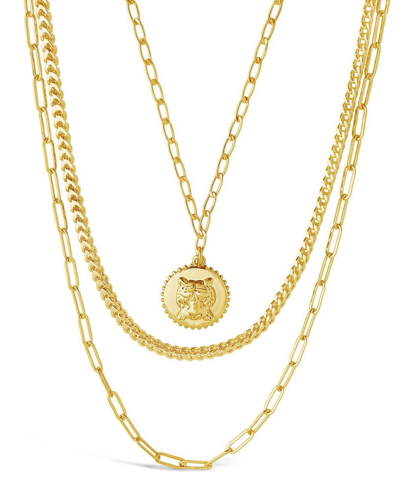 Layered Chains with Tiger Charm Necklace Sterling Forever Gold