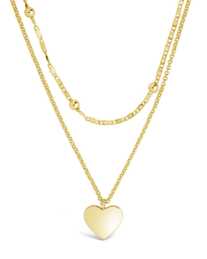 Beaded Chain & Heart Charm Layered Necklace Necklace Sterling Forever Gold