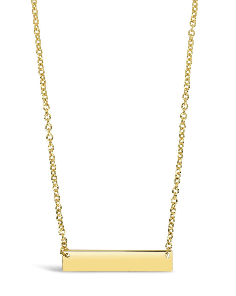 Sterling Silver Mini Bar Pendant Necklace Sterling Forever Gold