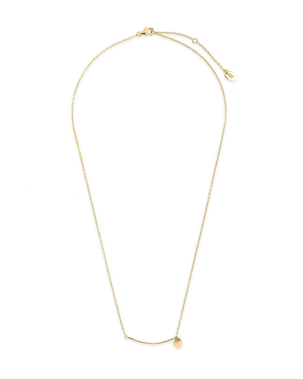 Sterling Silver Polished Bar & Heart Drop Necklace Necklace Sterling Forever