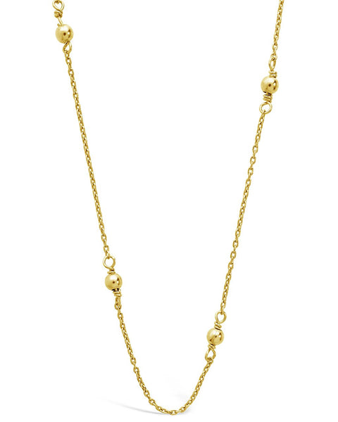 Sterling Silver Beaded Necklace Necklace Sterling Forever Gold