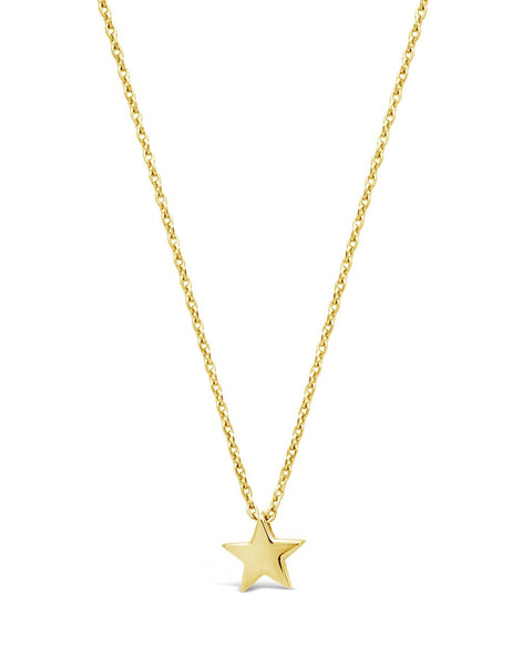 Sterling Silver Delicate Star Pendant Necklace Necklace Sterling Forever Gold