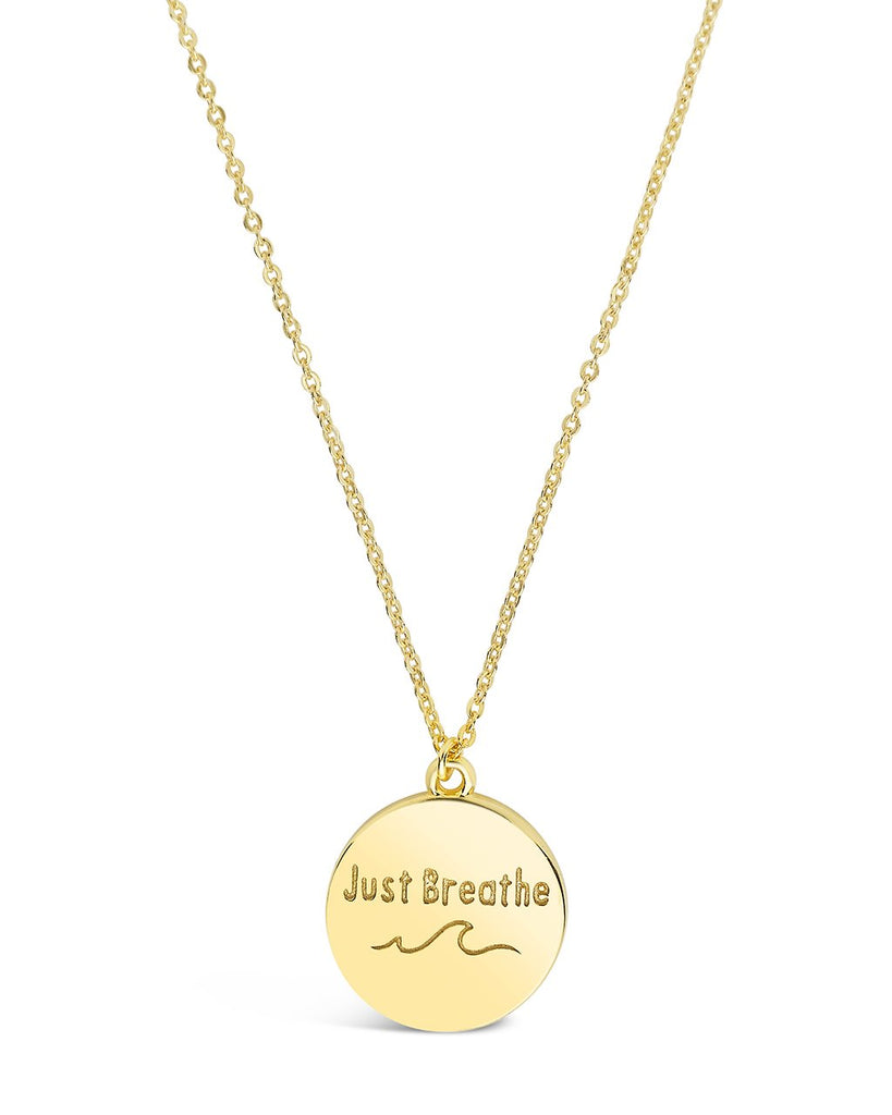 Sterling Silver 'Just Breathe' Disc Pendant Necklace Sterling Forever
