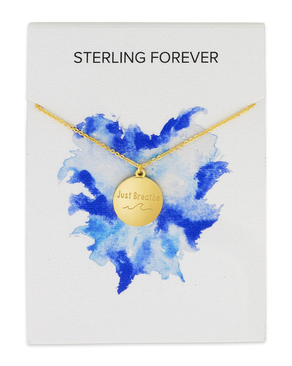 Sterling Silver 'Just Breathe' Disc Pendant Necklace Sterling Forever Gold