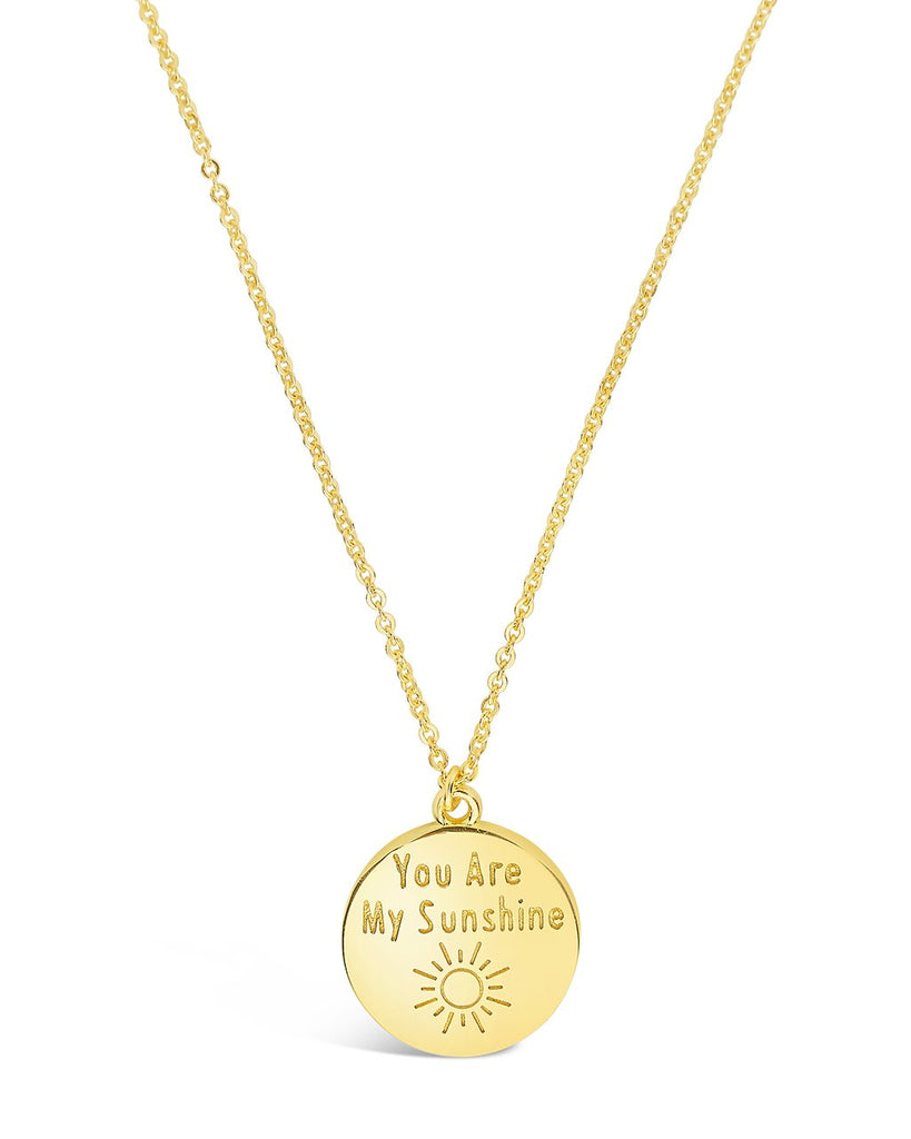 Sterling Silver 'You are My Sunshine' Disc Pendant Necklace Sterling Forever