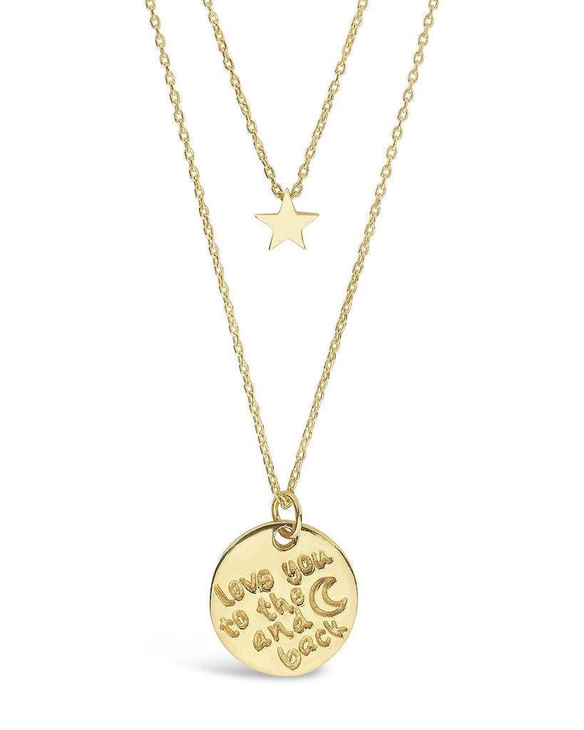 Sterling Silver Star & 'Love You to the Moon & Back' Disc Layered Necklace Necklace Sterling Forever Gold