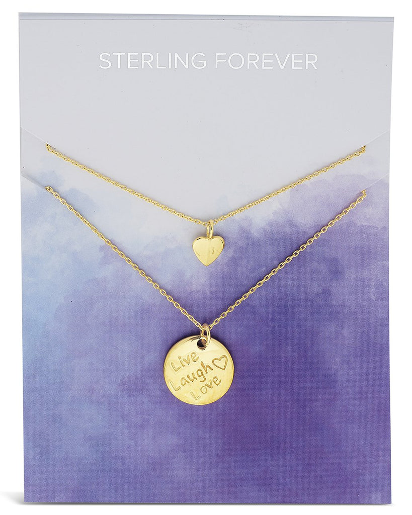 Sterling Silver Heart Charm & 'Live, Laugh, Love' Disc Layered Necklace Necklace Sterling Forever Gold
