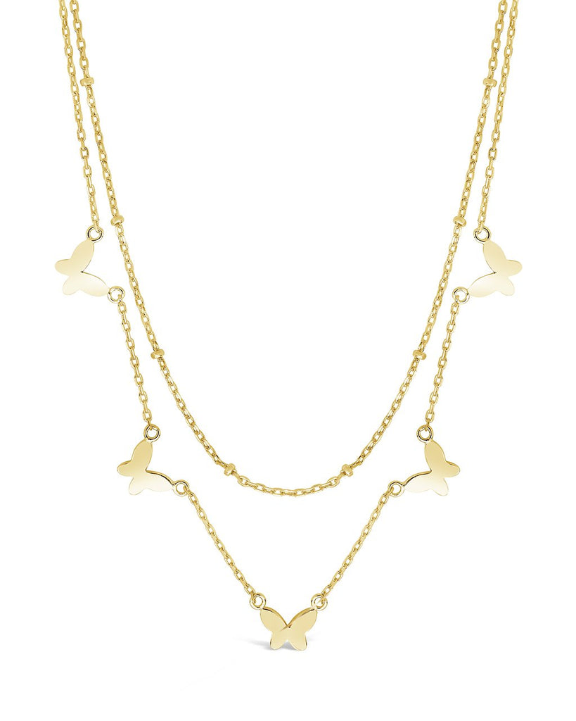 Sterling Silver Layered Butterfly Necklace Necklace Sterling Forever Gold