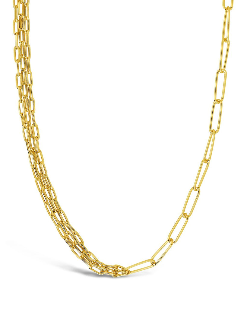 Sterling Silver Layered Paper Clip Chain Necklace Necklace Sterling Forever Gold
