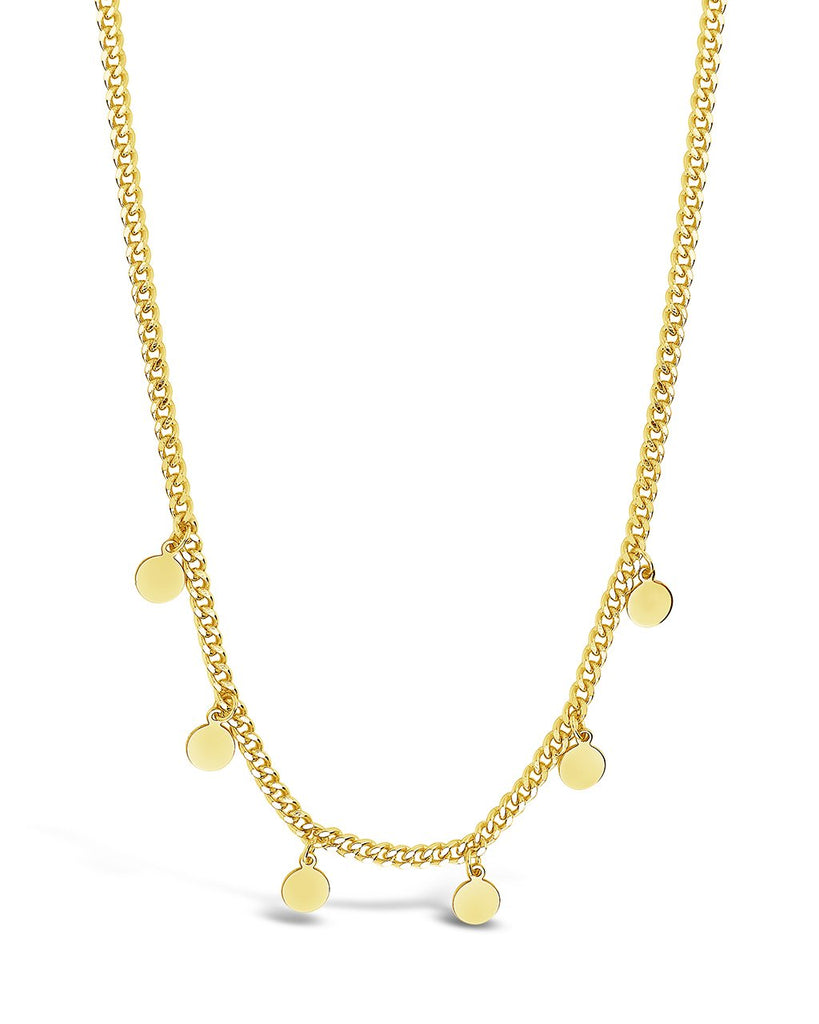 Sterling Silver Dainty Curb Chain with Disk Charms Necklace Sterling Forever Gold