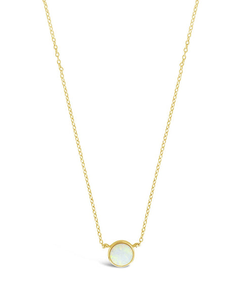 Sterling Silver Stationed Opal Disk Necklace Necklace Sterling Forever Gold