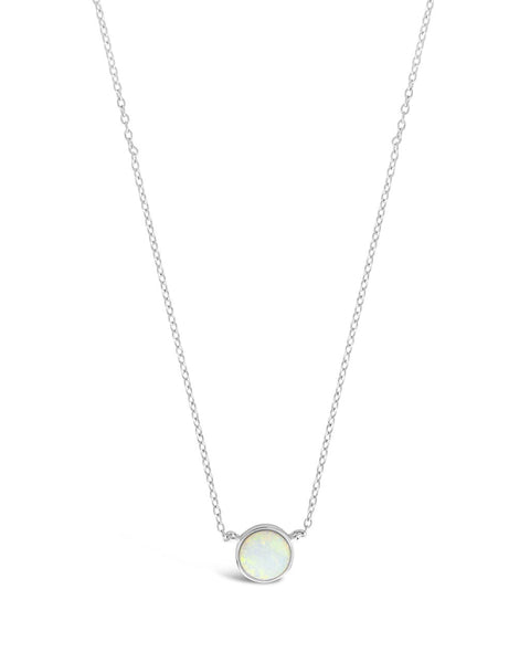 Sterling Silver Stationed Opal Disk Necklace Necklace Sterling Forever Silver