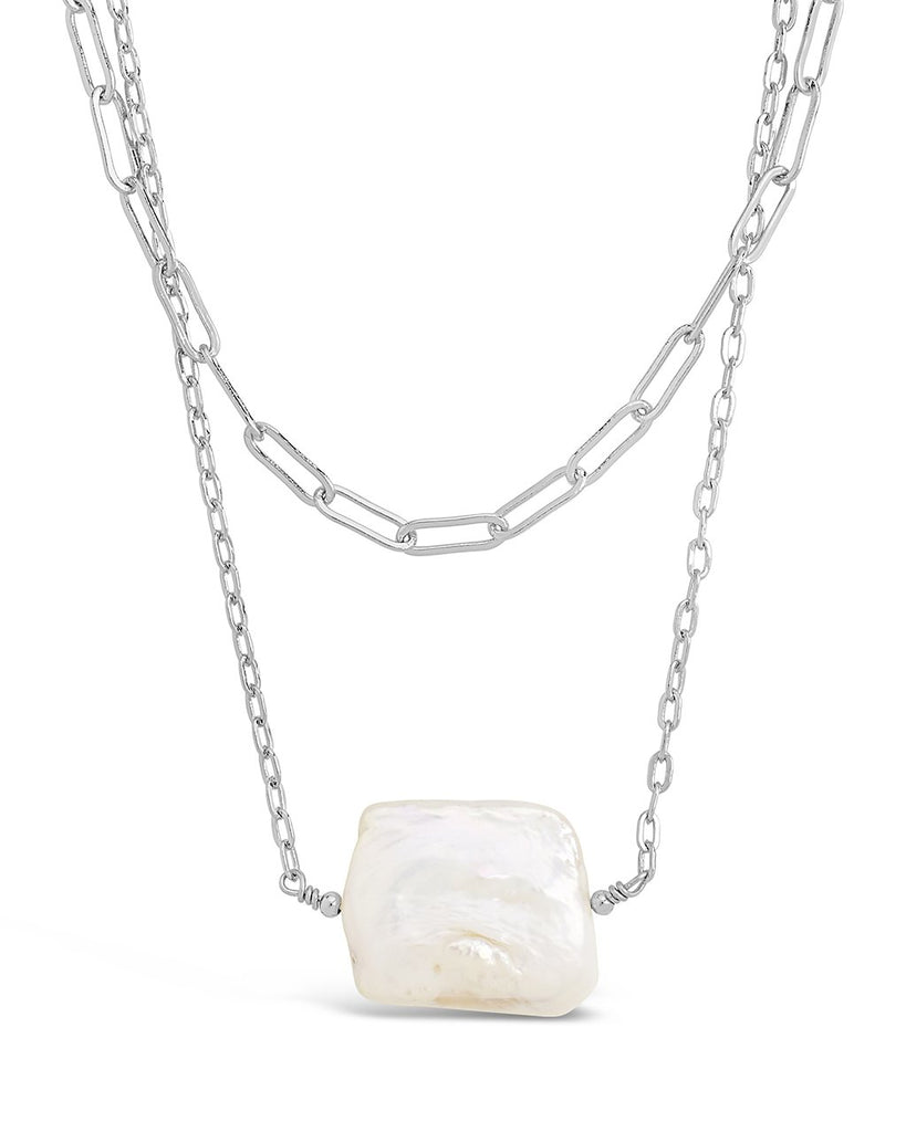 Chain Link and Pearl Layered Necklace - Sterling Forever