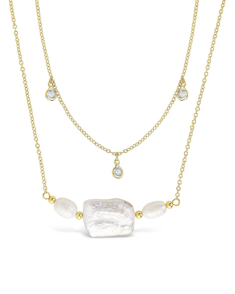 Bezel CZ and Pearl Layered Necklace - Sterling Forever