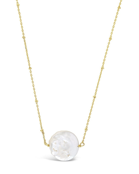 Large Flat Pearl Pendant Necklace - Sterling Forever