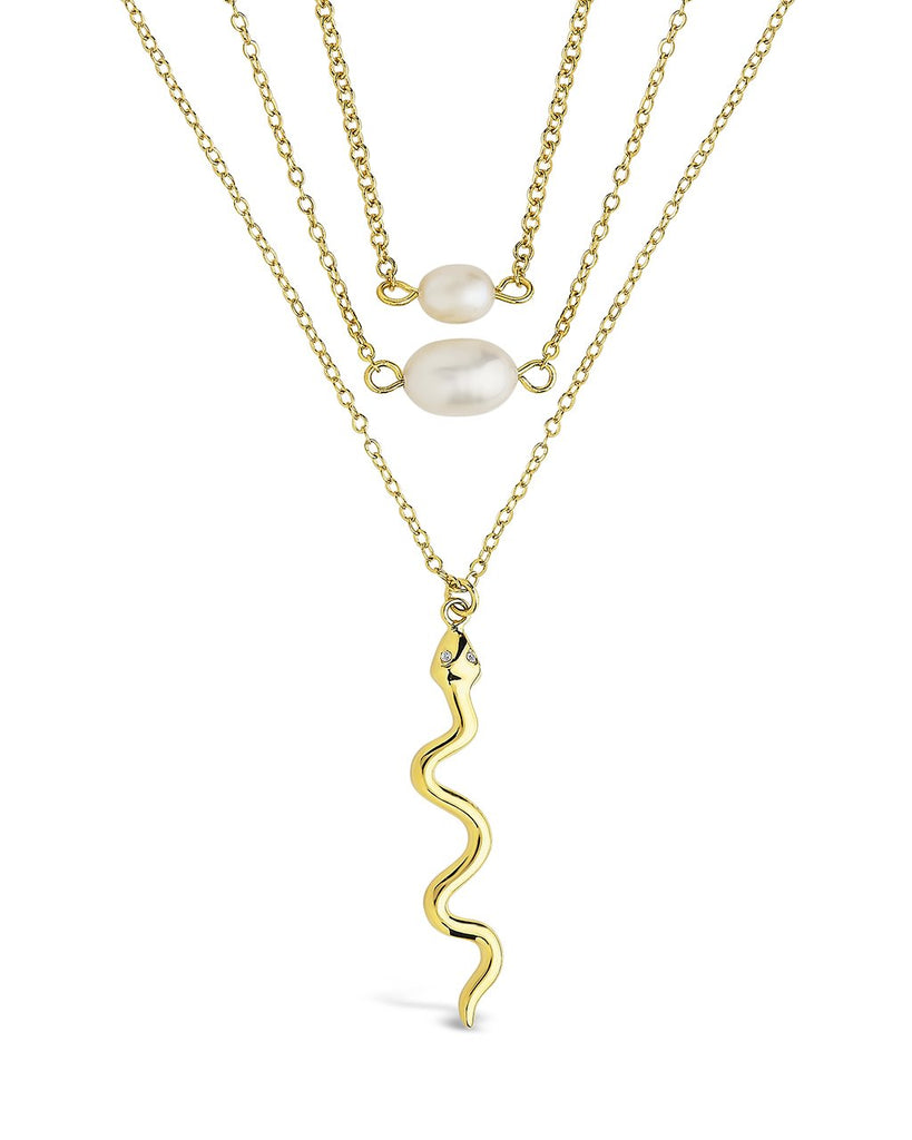 Wriggling Snake & Pearl Layered Necklace Necklace Sterling Forever Gold