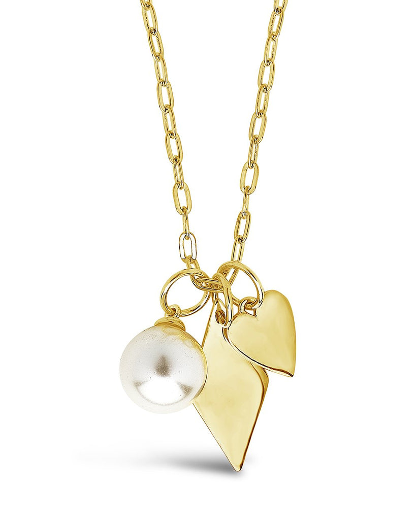 Delicate Sterling Silver Pearl & Charm Chain Necklace Necklace Sterling Forever Gold