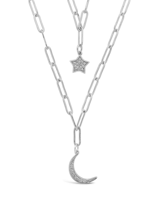 CZ Star & Moon Chain Link Layered Necklace Necklace Sterling Forever Silver