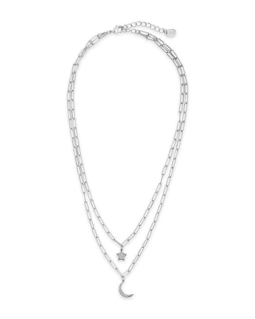 CZ Star & Moon Chain Link Layered Necklace Necklace Sterling Forever