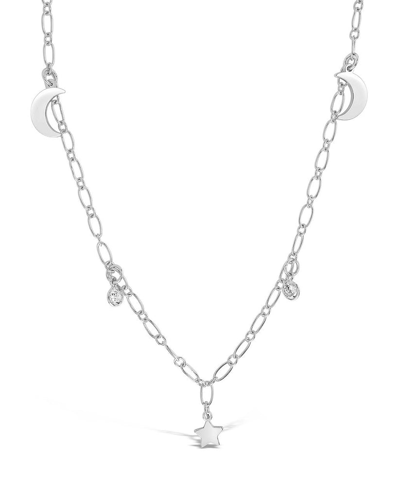Sparkling CZ, Star, & Moon Chain Necklace - Sterling Forever