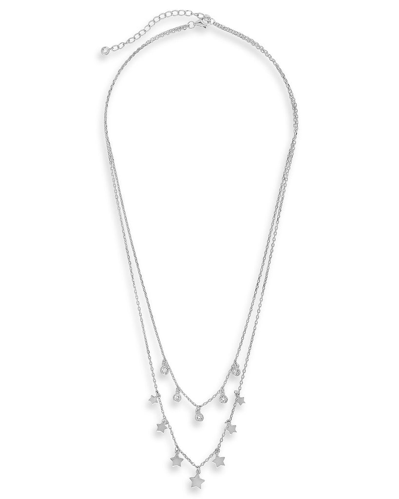 Bezel CZ and Star Layered Necklace - Sterling Forever