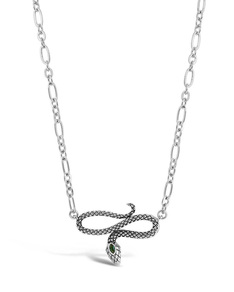 Linked Snake Pendant Necklace Sterling Forever Silver