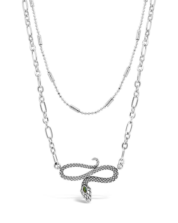 Linked Snake Layered Necklace Necklace Sterling Forever Silver