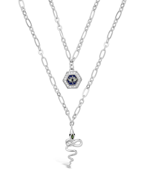 Hex & Snake Layered Necklace Necklace Sterling Forever Silver