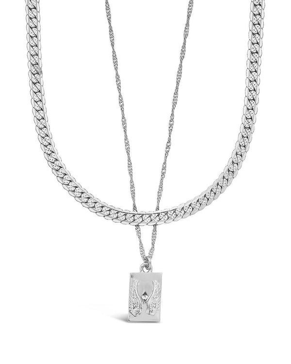 Guardian Pendant Layered Necklace Necklace Sterling Forever Silver