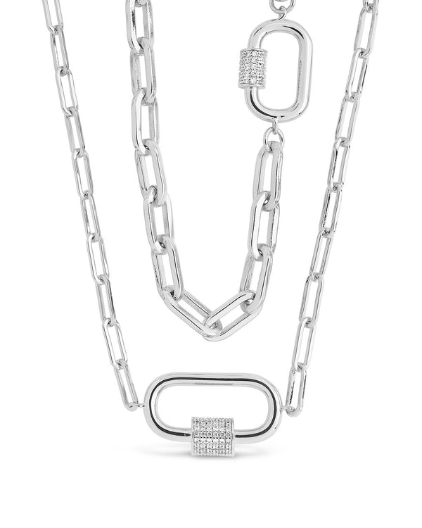 Double Carabiner Layered Necklace Necklace Sterling Forever Silver