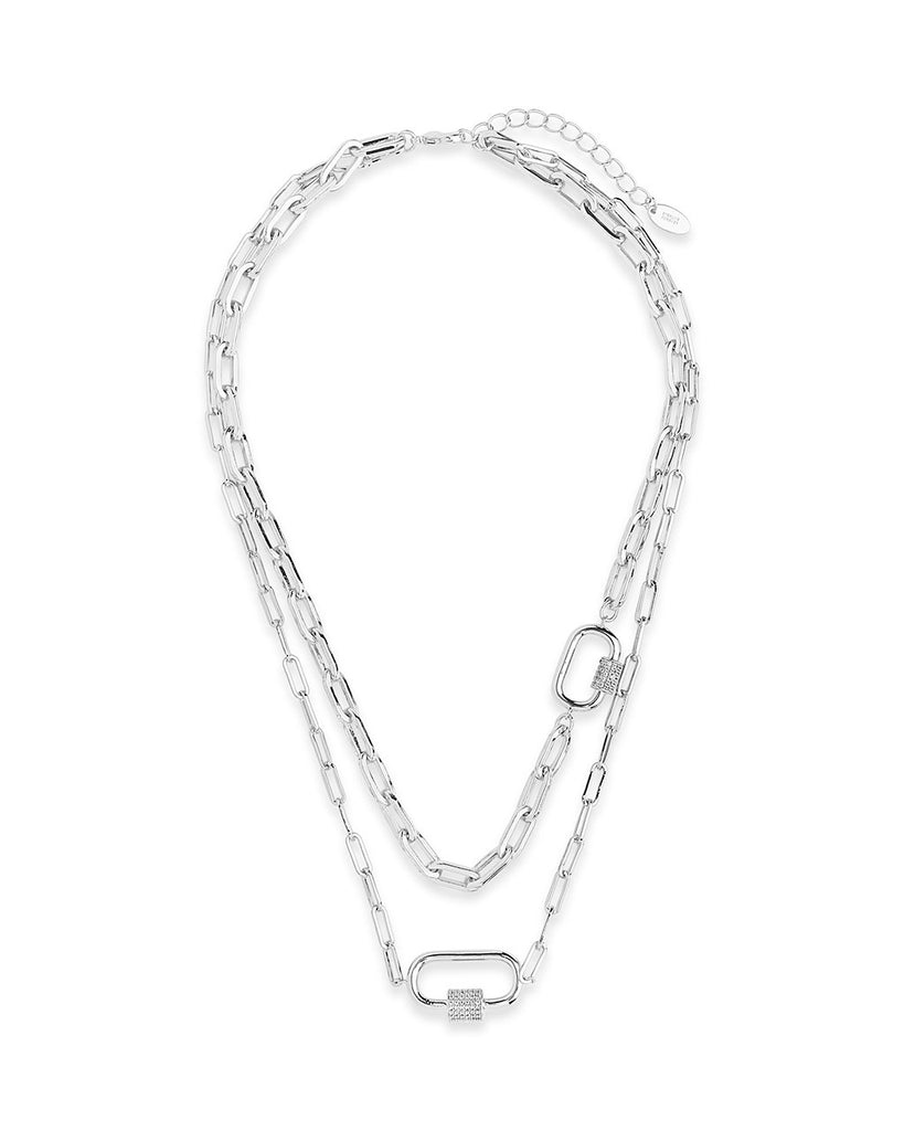 Double Carabiner Layered Necklace Necklace Sterling Forever