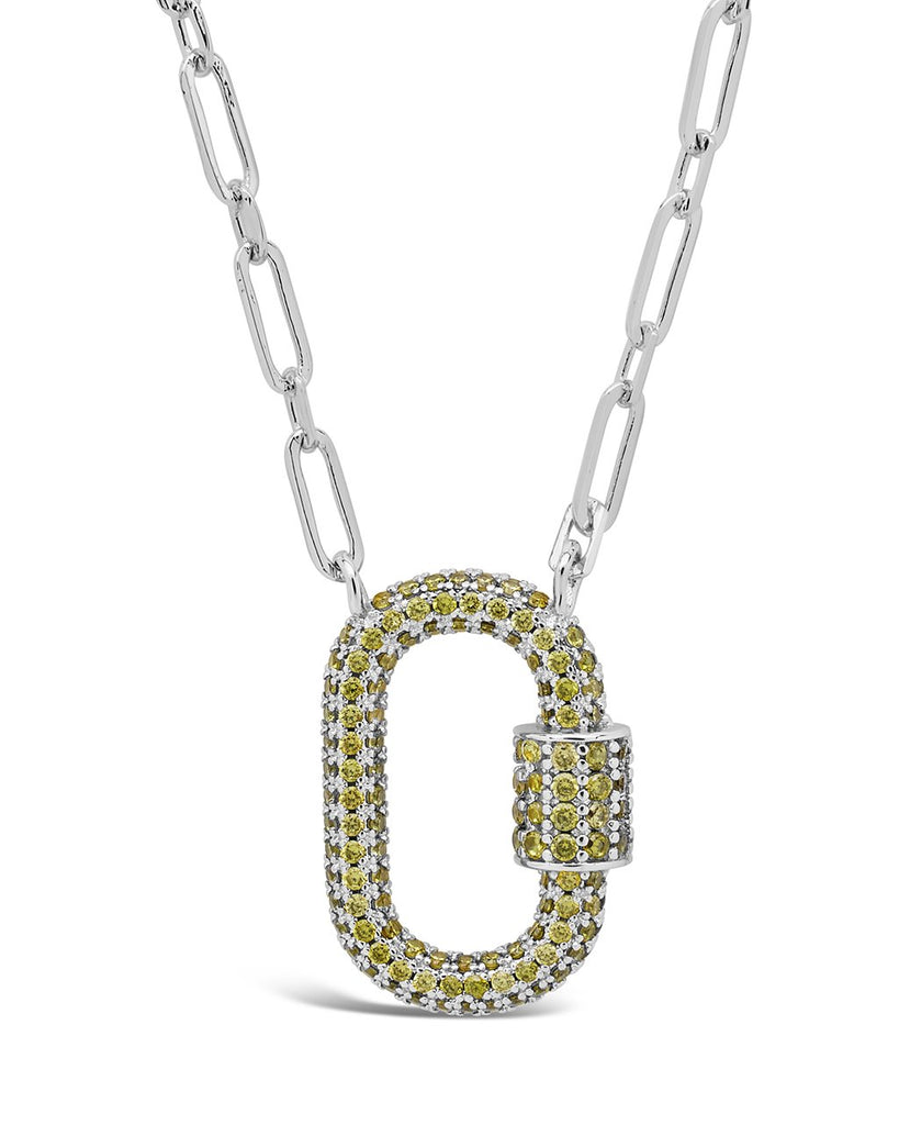 Pave CZ Carabiner Lock Necklace Necklace Sterling Forever Silver Green