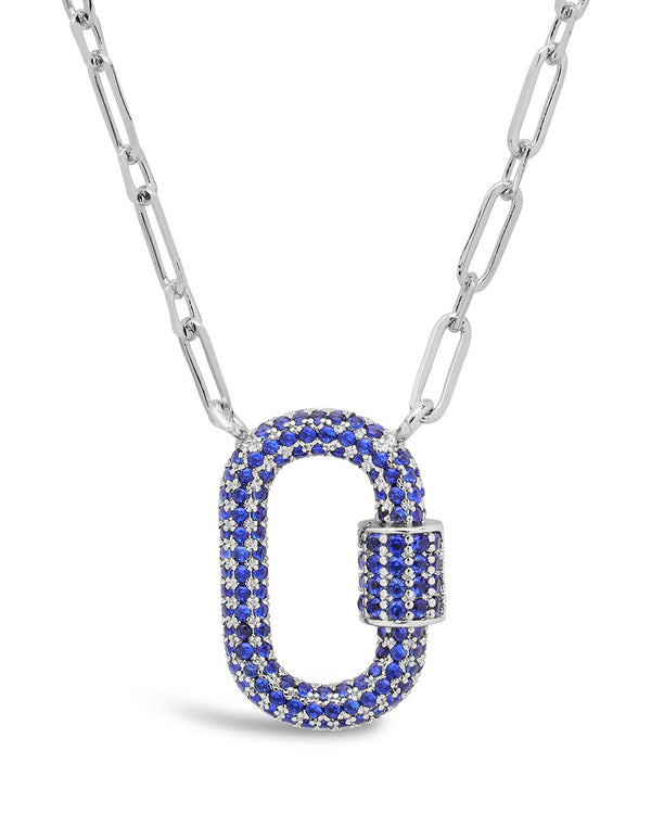 Pave CZ Carabiner Lock Necklace Necklace Sterling Forever Silver Blue
