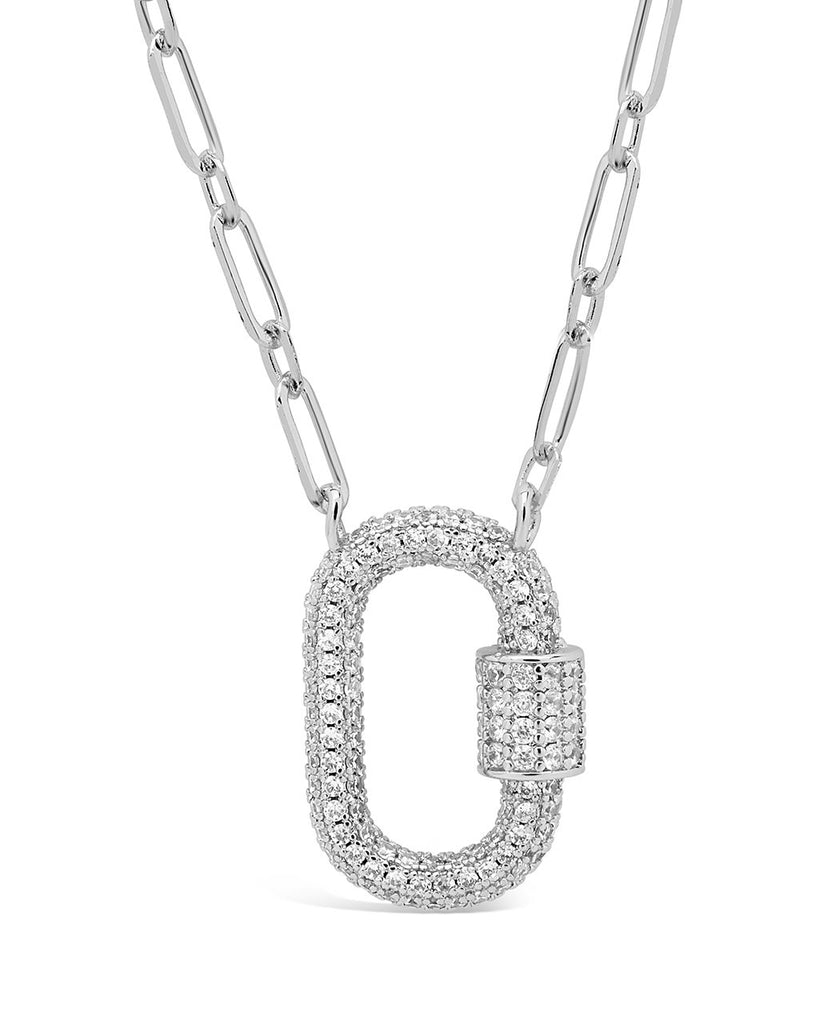 Pave CZ Carabiner Lock Necklace Necklace Sterling Forever Silver Clear