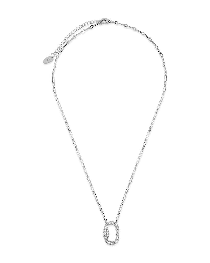 Pave CZ Carabiner Lock Necklace Necklace Sterling Forever