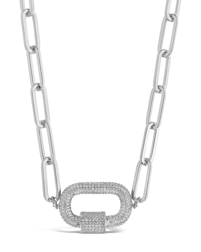 Pave CZ Carabiner Linked Lock Necklace Necklace Sterling Forever Silver Clear