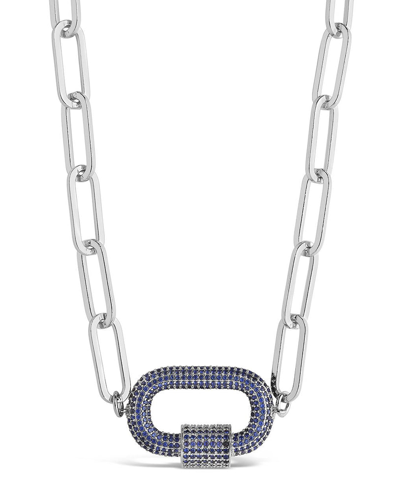 Pave CZ Carabiner Linked Lock Necklace Necklace Sterling Forever Silver Blue