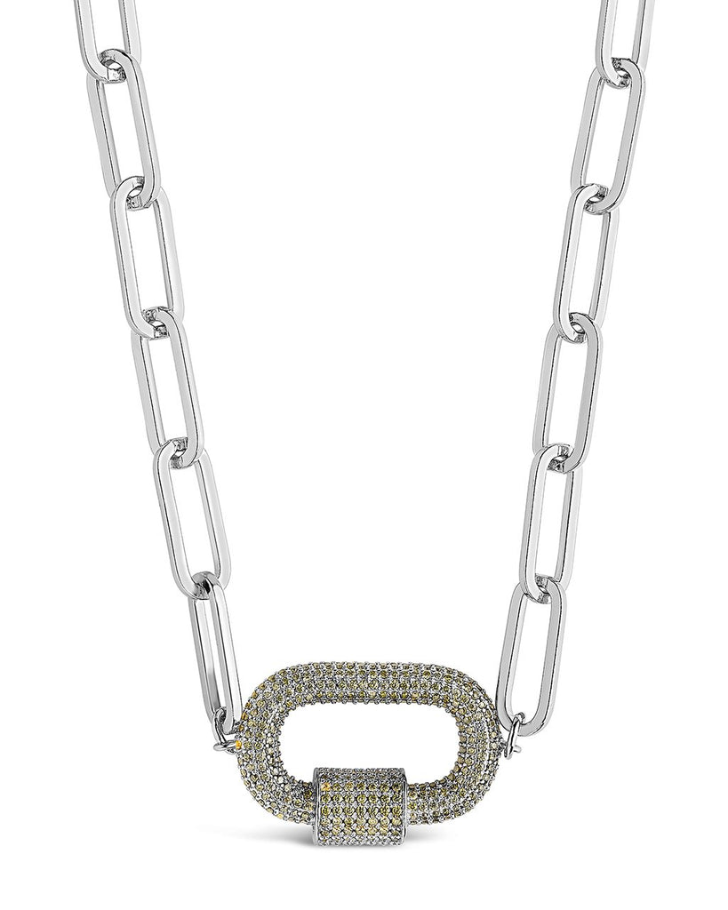 Pave CZ Carabiner Linked Lock Necklace Necklace Sterling Forever Silver Green
